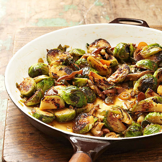 and ChileGlazed Brussels Sprouts with Shiitake Mushrooms