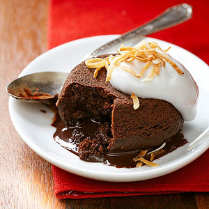 Molten Chocolate Cakes with Coconut Cream