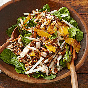 Spinach Salad With Chicken And Herb Toasted Walnuts