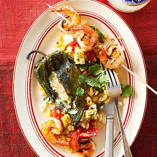 Grilled Chiles Rellenos with Mango Mojo Shrimp and Corn ...