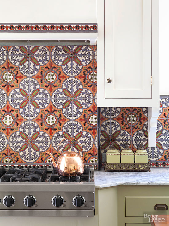use decorative tile to play up the style of your home in this vintage kitchen located in a spanish revival the homeowners used colorful