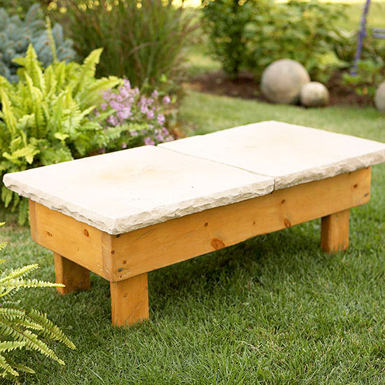 Diy stone outdoor bench for Bancos de jardin rusticos