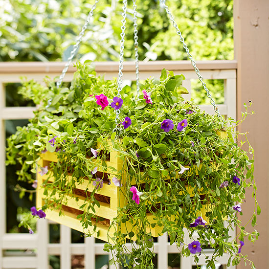 Hanging Wooden Basket Container Garden