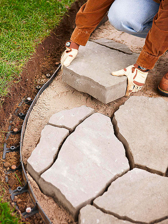 Flagstone patio for How to build a river rock patio