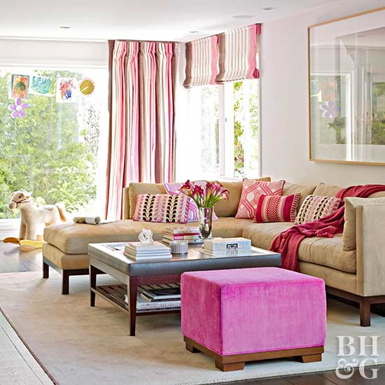 Living Room Color Scheme: Pretty in Pink