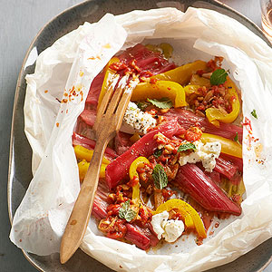 Melty Rhubarb, Goat Cheese, and Peppers