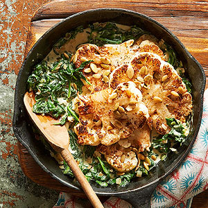 Skillet-Roasted Cauliflower Steaks with Jalapeno Creamed Spinach