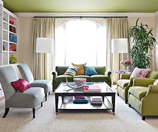 Living Room Color Scheme: Elegant Greens