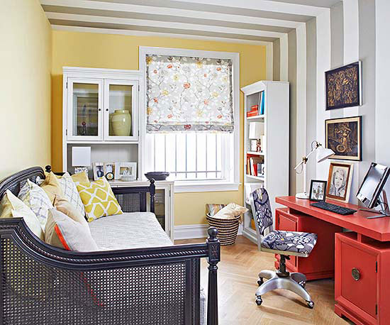 most rooms in a small apartment serve multiple functions this room is an office by day and a bedroom by night rather than make the office look like a - Apartment Decorating
