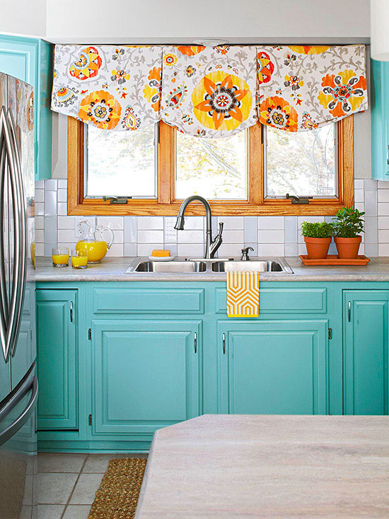 A vivacious variation of the horizontal stacked bond pattern, this  high-gloss backsplash mixes in colored subway tiles to create a striped  effect, ...
