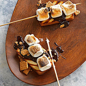 Grilled S'mores Cake with Easy Chocolate Sauce
