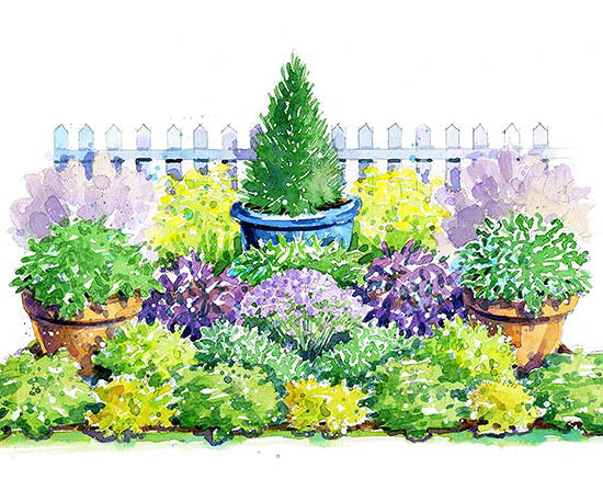 Colorful herb garden plan for Garden design workbook
