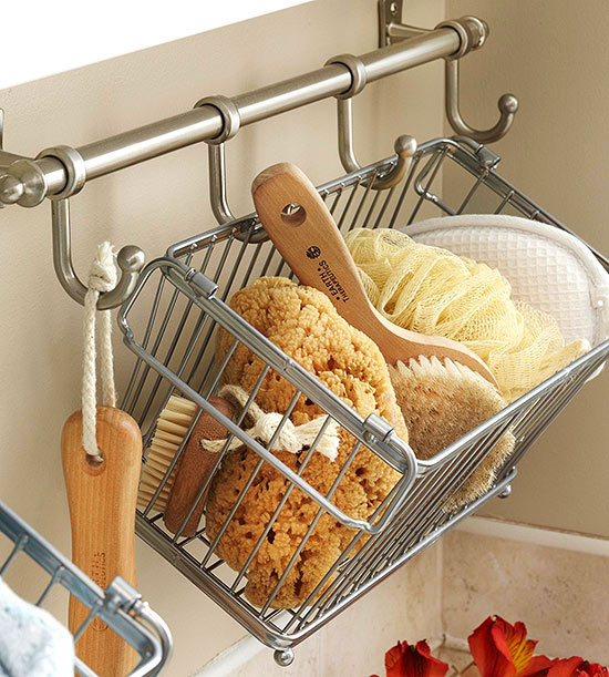consider using metal baskets to create small shower caddies the tiny baskets are easy to carry and offer a great way to separate everyones bathroom - Bathroom Baskets