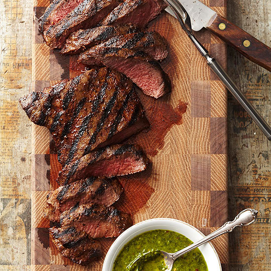 Grilled Flat Iron Steaks with Chimichurri