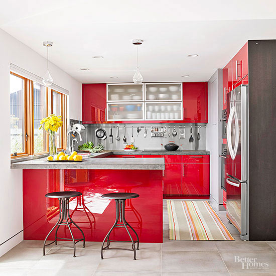 Small Kitchen With Reflective Surfaces: Red Kitchen Design Ideas