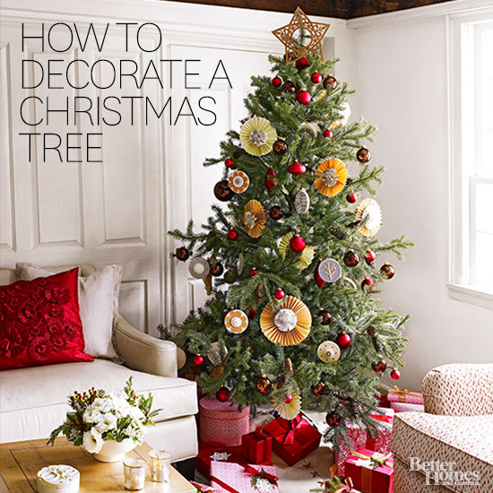 Christmas Tree Living Room how to decorate a christmas tree from better homes & gardens