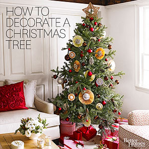 How to decorate a christmas tree from better homes gardens for Better homes and gardens christmas decorating ideas