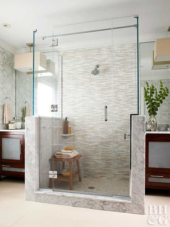 Seating for walk in showers for Walk through shower to tub