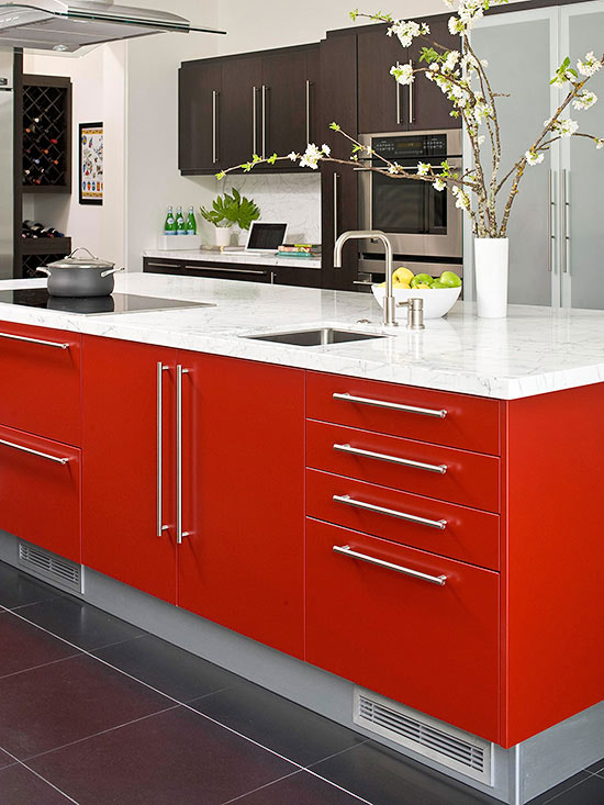 colorful kitchen islands fire engine red