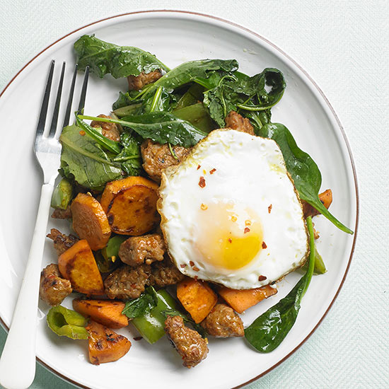 Sweet Potato, Sausage, and Green Pepper Hash