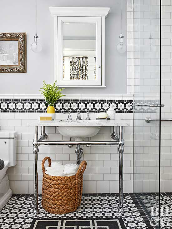 Our best ideas for a bathroom backsplash for Images of bathroom backsplashes