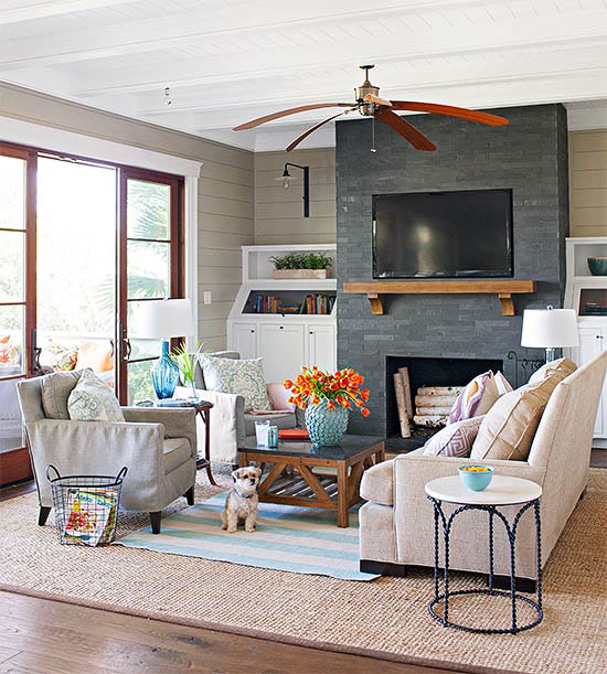 Living Room Decor With Fireplace fireplace designs and design ideas, fireplace photos - bhg