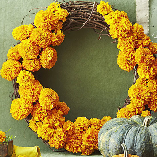 Make a Flower Wreath with Marigolds!