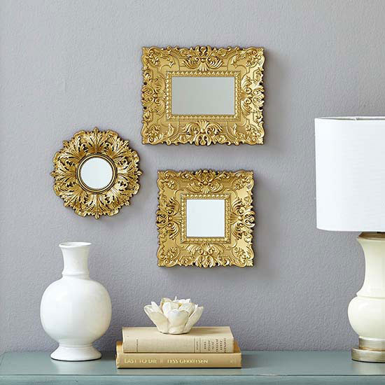 Wall decor made easy and affordable! These Baroque wall mirrors are sold in  sets of three and can add just the right amount of boldness to a bare wall.