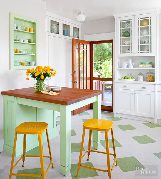 the right choices for your kitchen floors and countertops can help you create a retro look for floors consider authentic linoleum an allnatural