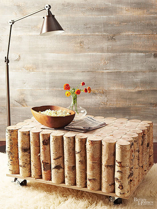 Get outdoorsy style for way less than catalog prices. This rustic DIY coffee  table requires just a few basic tools, materials like birch wood, casters,  ...