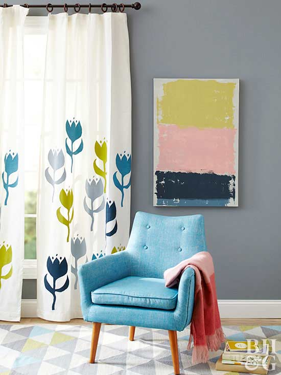 Window Treatments For Less Part - 17: Colorful Rug, White Curtains, Paint, Blue Chair