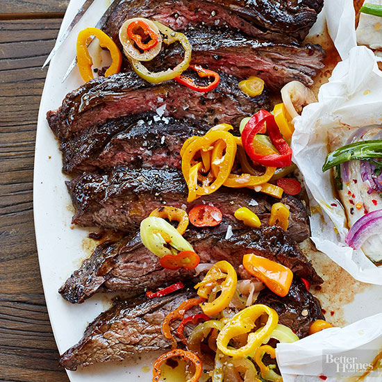 Steak on the Coals with Pickled Peppers