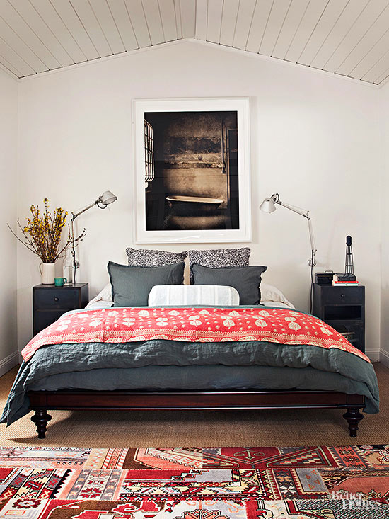 heres an easy idea to create the illusion of more space in a small master bedroom eliminate the bed skirt this skirtless bed stands on shapely legs so bhg bedroom ideas master
