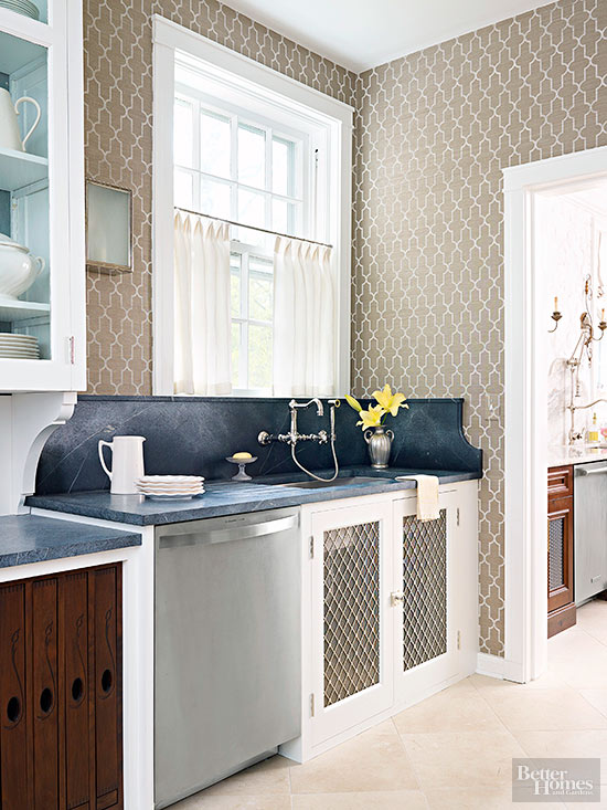 20 creative ways to use wallpaper in the kitchen for Statement kitchen wallpaper