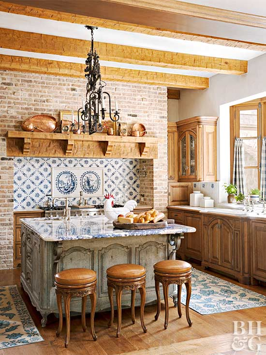 Tuscan Kitchen With Brick Part 39
