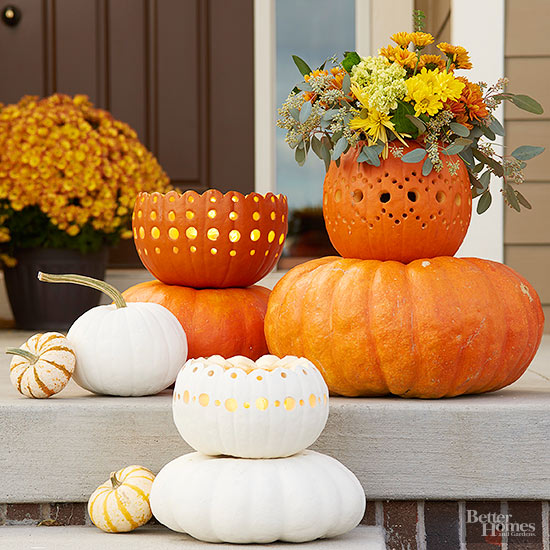 pretty front entry decorating ideas for fall - Fall Pumpkin Decorations