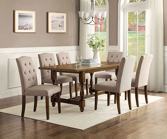 A Perfect Balance Of Country And Modern, This Rustic Table Provides Plenty  Of Space To Entertain Your Guests, While The Sophisticated Beige Chairs Are  ...