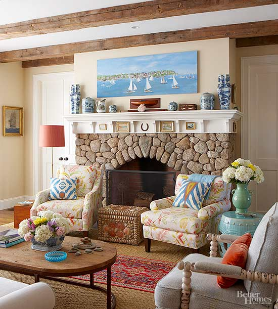 cobblestone fireplace frame