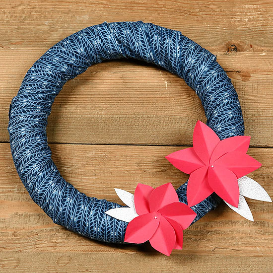 How to Make a Fabric Wreath with Paper Flowers
