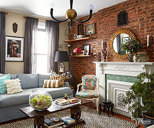 Living Room With Brick Fireplace brick fireplaces