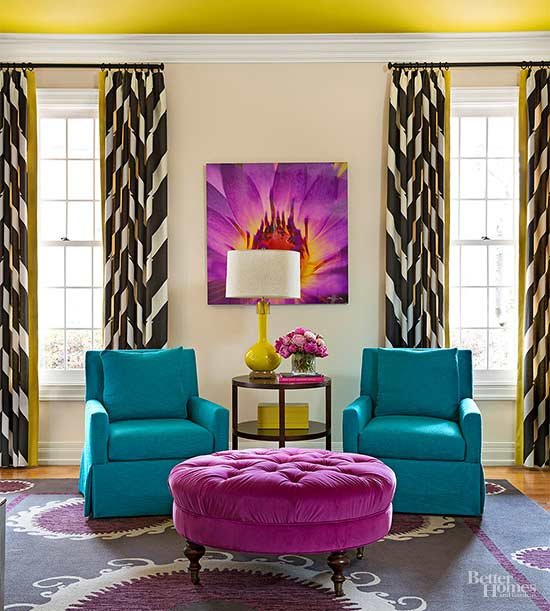 Charming With Mustard, Teal, And Purple All In The Same Room, This Space Has A Lot  Going On. The Purple And Mustard Are Both Carried In Various Elements  Throughout ... Part 16