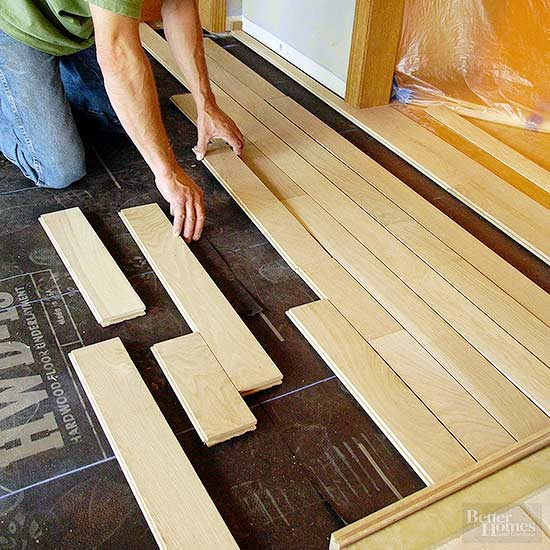 because strips or planks tend to look the same within a bundle unwrap several bundles of flooring and lay the pieces out a process called racking