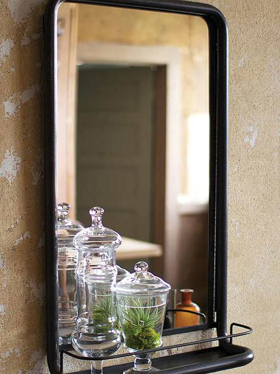 Add A Touch Of Innovation With This Inspired Bathroom Mirror Hold Items In Place The Attached Iron Shelf