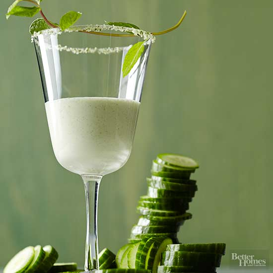 Cucumber-Mint Lassi Shooters