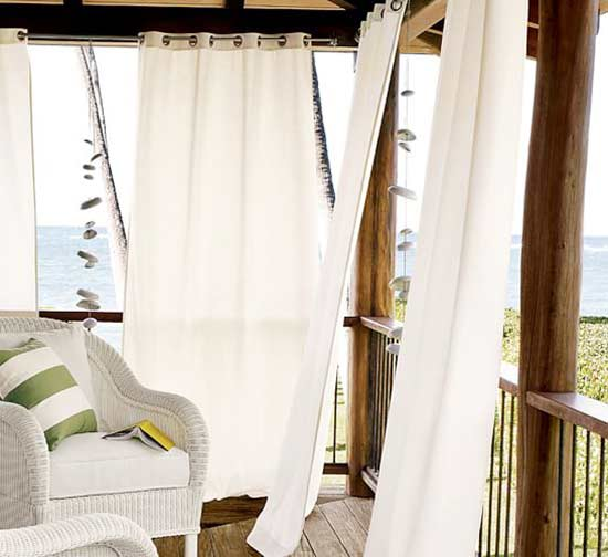 Add privacy outdoors with easy up screens curtains more for Canvas privacy screen outdoor
