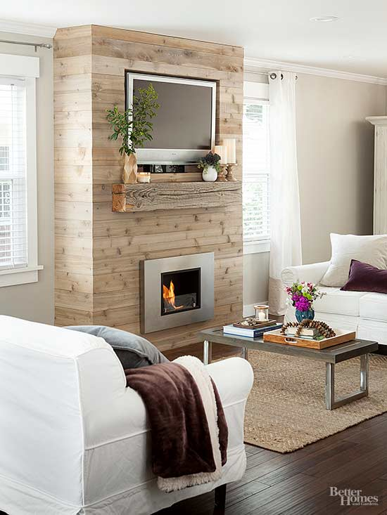 No Fireplace Problem You Can Make Your Own This Urban Rustic Features Cedar Planks Over A 2x4 Foot Frame With Custom Sized Recess That