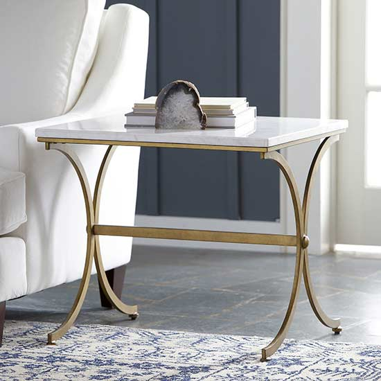 This Stunning Stone Top End Table Is Sure To Wow Your Guests.