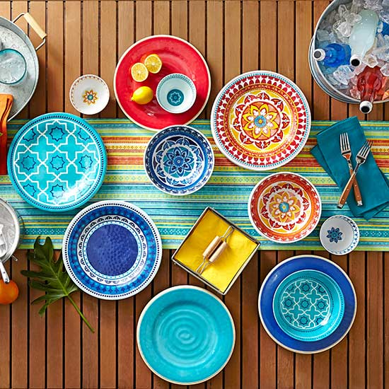 Enjoy breakfast lunch and dinner on the Better Homes and Gardens Melamine and Acrylic Collection plates and bowls starting at $1.88. & Walmart Patterned Patio Accessories