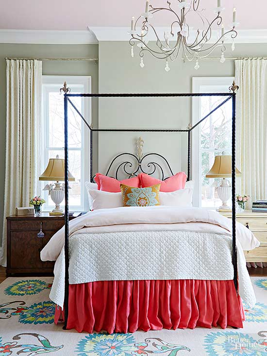 make a small master bedroom feel special and more inviting with a focal point bed a bold black canopy frame gives this bed prominence in the room bhg bedroom ideas master
