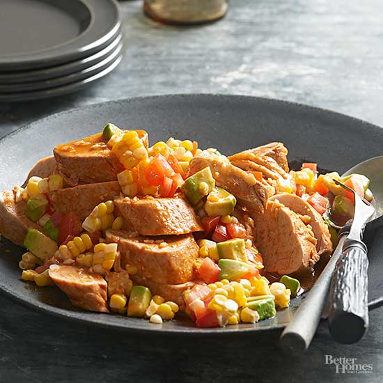 Cholula Pork Tenderloin with Corn Salsa